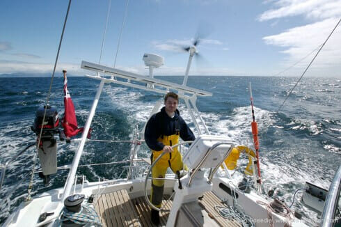 She is a stable and powerful boat, and very easy to handle. When the wind frees we progressively lift the centreboard until it is fully raised on a run. She tracks very well in this mode, and places very little demand on a helmsman or autopilot.