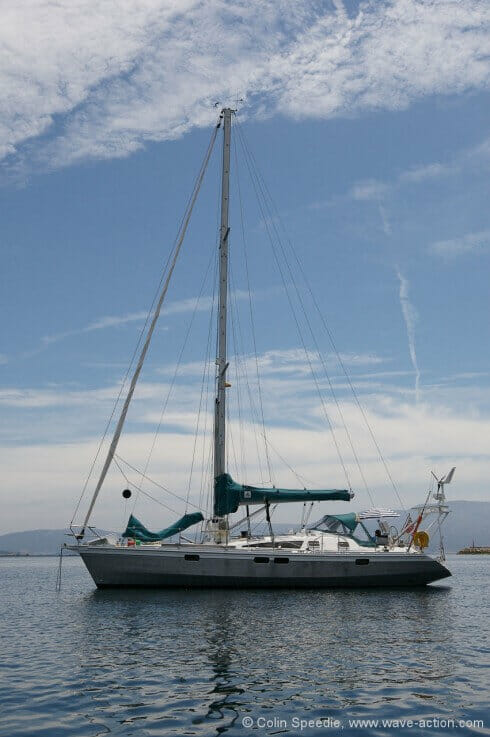 Pelerin is an OVNI 435 designed by Philippe Briand, and built in Les Sables D'Olonne, France in 2007. She is all aluminium construction, and has a lifting keel and rudder to enable her to dry out upright.