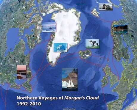 """Map of the northern voyages of the expedition sailboat """"Morgan's Cloud"""""""