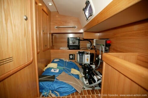 In place of a second double aft cabin, we opted for a smaller cabin dedicated to storage and services, such as our isolation transformer, big inverter and watermaker. This makes service and maintenance of any of these items easy. Our storm jib and drogue are stored in here when on passage, and the lockers are mainly used for storage of spares.