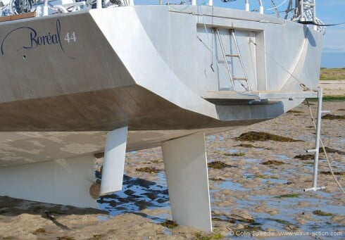 A step back from twin rudders - the Boreal 44 employs a single spade rudder, twin angled daggerboards and a conventional shaft drive exiting through the back of the keel box.