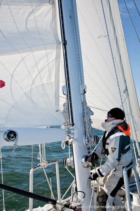 Phyllis has eased the main halyard only about 18 inches.