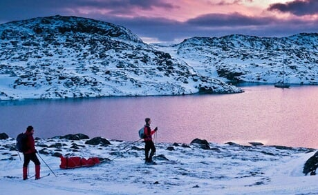 """A two mile ski brings us to the bay that """"Polaris"""" is moored in."""