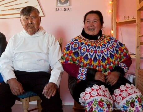 A Greenlandic couple in traditional costumes