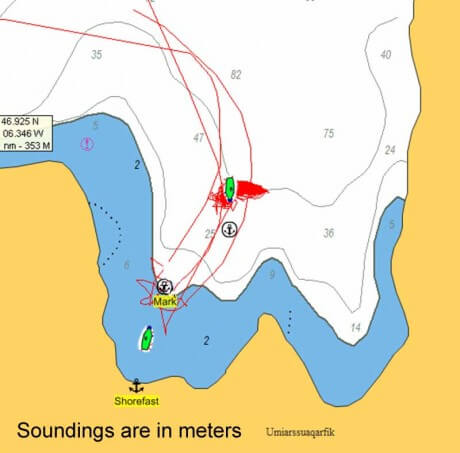 Chart showing tracks made by Morgan's Cloud in a West Greenland anchorage