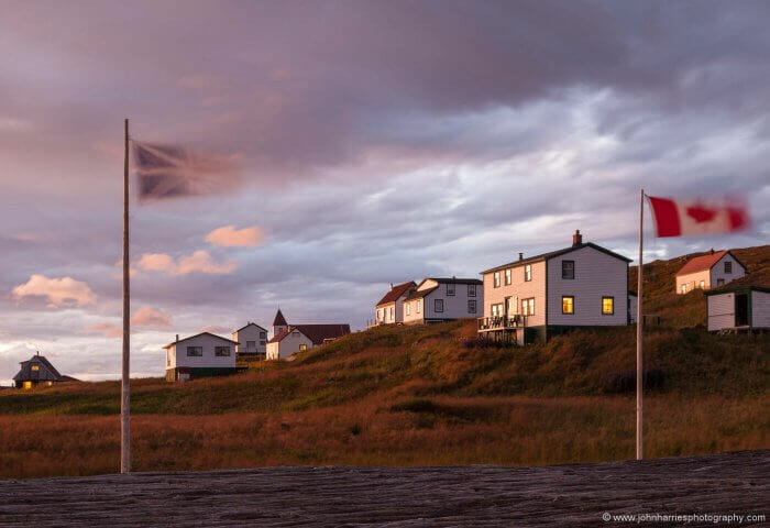 Dusk comes to the restored fishing station at Battle Harbour.