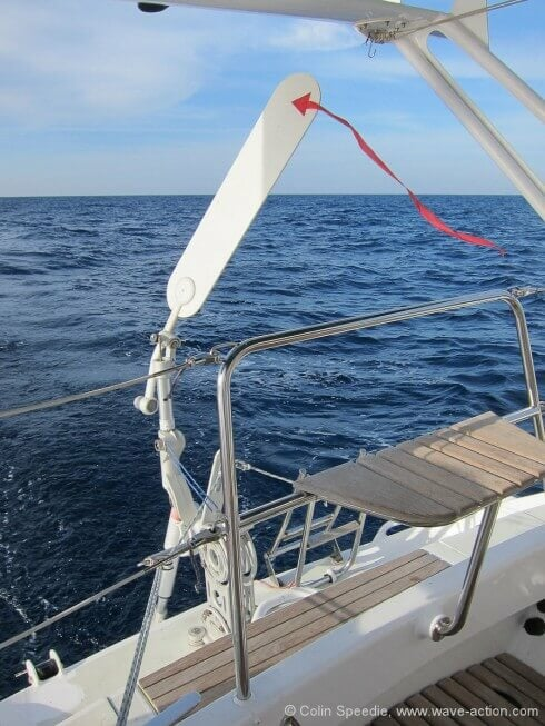 Our Pacific has a simple strip of spinnaker fabric glued to it, to help the vane in light airs – and it works! We find that as a result the gear works well even in really light conditions downwind, where many vanes struggle. It can also help to mount the air blade vertical in its bracket in really light conditions, and progressively angle it aft in stronger winds to reduce flutter – another way in which experimentation and simple, incremental adjustments can make a big difference to overall performance.