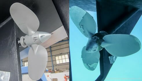 Antifouled prop - before and forty-five minutes later.....