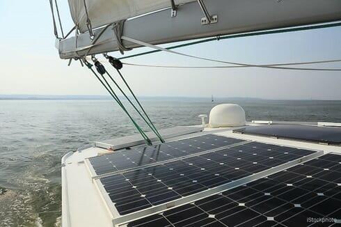 Solar Panels charging batteries aboard sail boat