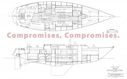 Arrangement plan, kindness of Ian McCurdy, McCurdy and Rhodes Naval Architects. Click on Plan to see larger.