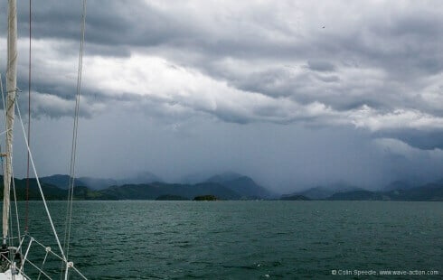 Here comes trouble – violent rain squalls in the approaches to Paraty