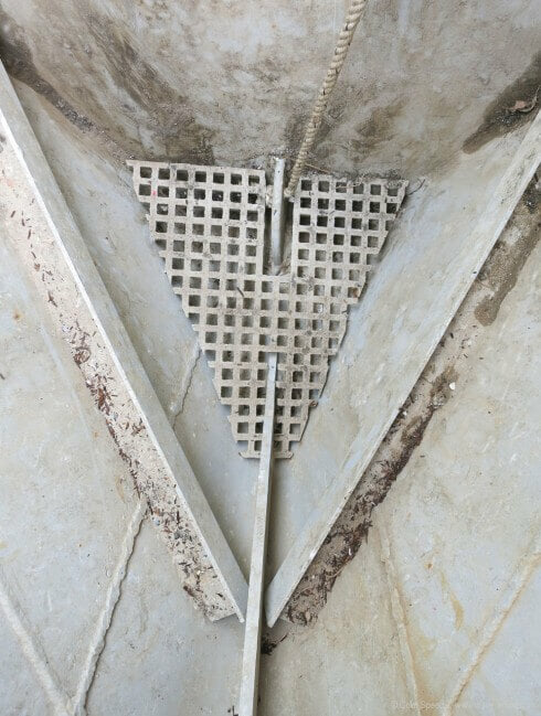 GRP decking cut to shape makes a fine straining floor for an anchor locker