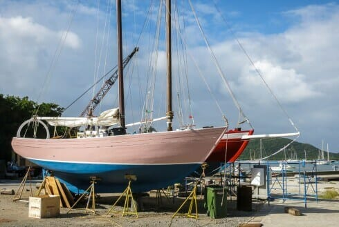 Carriacou wooden sloops being prepared for the season