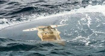 "Overturned hull of the ""Cheeki Rafiki"", U.S. Navy photo."