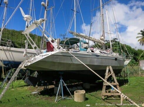 """Pèlerin"" in the boatyard"