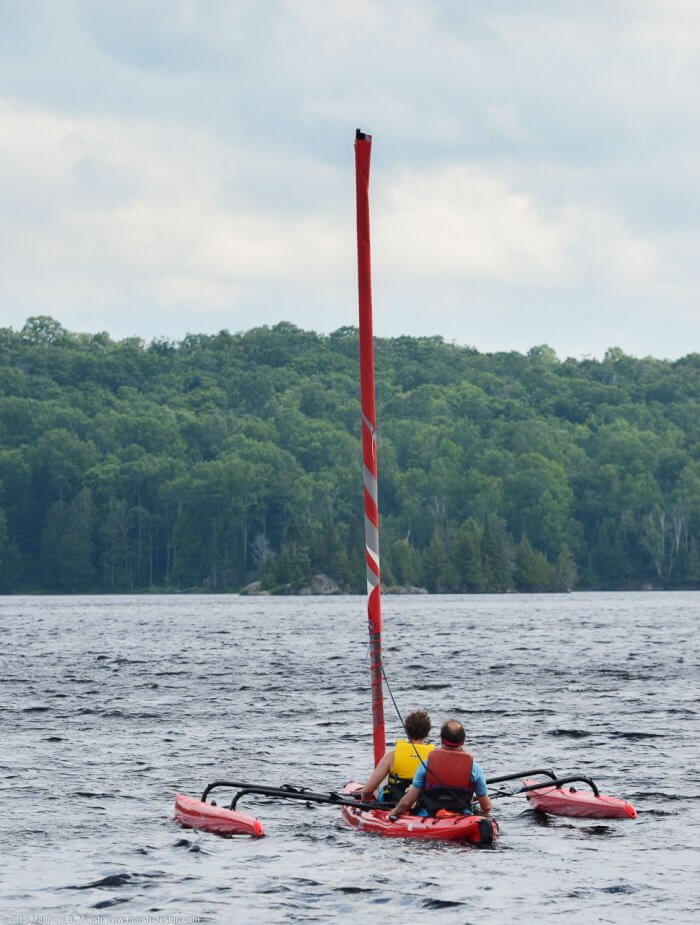 Hobie Mirage Tandem Island with sail furled