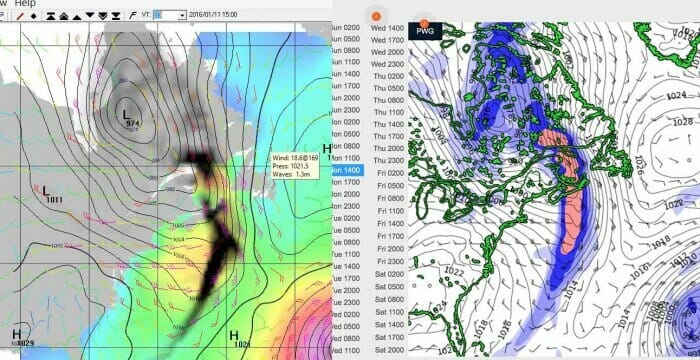 GFS on the right, PredictWind on the right. Time of frontal passage at Halifax is 5 hours different even though model is only 24 hours old.