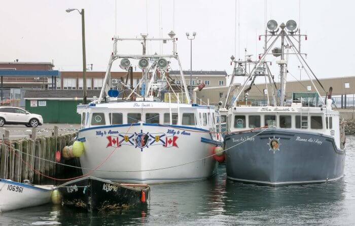 A pair of immaculately kept lobster boats in Yarmouth.