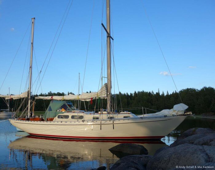 """Andy and Mia's Allied Seabreeze Yawl, """"Arcturus"""" that they re-rigged entirely with Dux,"""