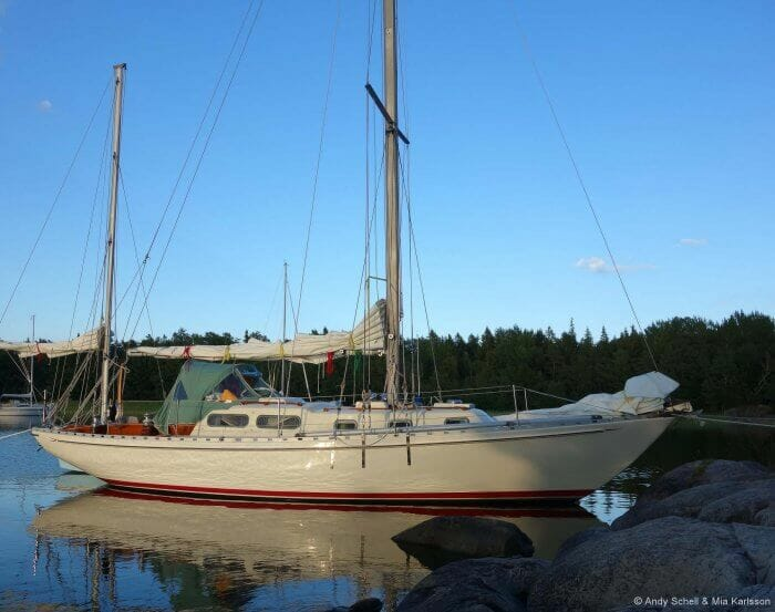 "Andy and Mia's Allied Seabreeze Yawl, ""Arcturus"" that they re-rigged entirely with Dux,"