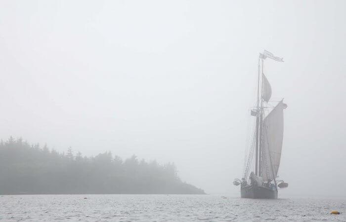 Fog overtakes this schooner in Maine.